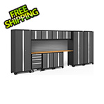NewAge Garage Cabinets BOLD Series 3.0 Grey 12-Piece Set with Bamboo Top and Backsplash
