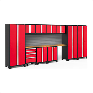 BOLD Series 3.0 Red 12-Piece Set with Bamboo Top and Backsplash