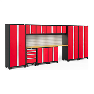BOLD Series Red 12-Piece Set with Bamboo Top, Backsplash, LED Lights
