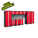 NewAge Garage Cabinets BOLD Series Red 12-Piece Set with Stainless Steel Top and Backsplash