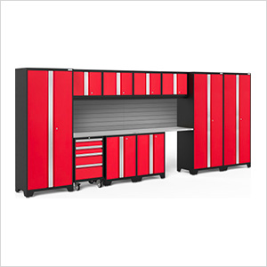 BOLD Series Red 12-Piece Set with Stainless Steel Top and Backsplash