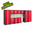 NewAge Garage Cabinets BOLD Series Red 12-Piece Set with Stainless Top, Backsplash, LED Lights