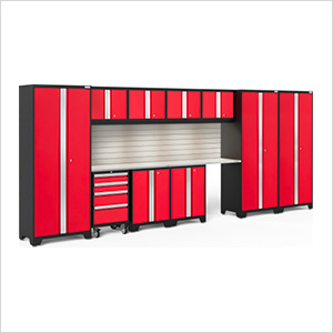BOLD Series Red 12-Piece Set with Stainless Top, Backsplash, LED Lights