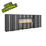 NewAge Garage Cabinets BOLD Series Grey 14-Piece Set with Bamboo Top, Backsplash, LED Lights