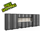 NewAge Garage Cabinets BOLD Series Grey 14-Piece Set with Stainless Top, Backsplash, LED Lights