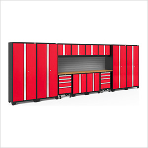 BOLD Series 3.0 Red 14-Piece Set with Bamboo Top and Backsplash