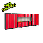 NewAge Garage Cabinets BOLD Series Red 14-Piece Set with Bamboo Top, Backsplash, LED Lights