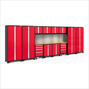 BOLD Series Red 14-Piece Set with Bamboo Top, Backsplash, LED Lights