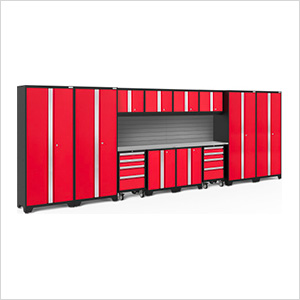 BOLD Series Red 14-Piece Set with Stainless Steel Top and Backsplash