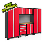 NewAge Garage Cabinets BOLD Series 3.0 Red 7-Piece Set with Bamboo Top and Backsplash