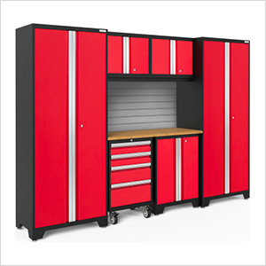 BOLD Series 3.0 Red 7-Piece Set with Bamboo Top and Backsplash
