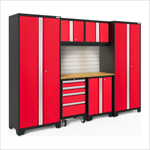 BOLD Series Red 7-Piece Set with Bamboo Top, Backsplash, LED Lights