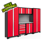 NewAge Garage Cabinets BOLD Series Red 7-Piece Set with Stainless Steel Top and Backsplash