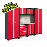 NewAge Garage Cabinets BOLD Series Red 7-Piece Set with Stainless Top, Backsplash, LED Lights