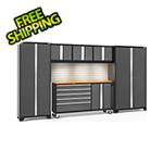 NewAge Garage Cabinets BOLD 3.0 Grey 6-Piece Cabinet Set with Bamboo Top, Backsplash, LED Lights