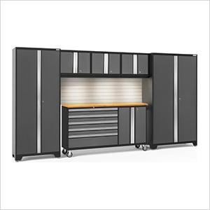BOLD 3.0 Grey 6-Piece Cabinet Set with Bamboo Top, Backsplash, LED Lights
