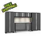 NewAge Garage Cabinets BOLD 3.0 Grey 6-Piece Cabinet Set with Stainless Top, Backsplash, LED Lights
