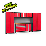 NewAge Garage Cabinets BOLD 3.0 Red 6-Piece Project Center Set with Bamboo Top and Backsplash