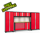 NewAge Garage Cabinets BOLD 3.0 Red 6-Piece Cabinet Set with Bamboo Top, Backsplash, LED Lights