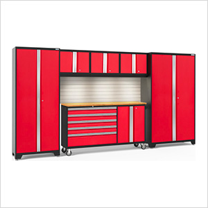BOLD 3.0 Red 6-Piece Cabinet Set with Bamboo Top, Backsplash, LED Lights