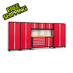 NewAge Garage Cabinets BOLD 3.0 Red 7-Piece Cabinet Set with Bamboo Top, Backsplash, LED Lights