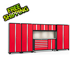 NewAge Garage Cabinets BOLD 3.0 Red 7-Piece Cabinet Set with Stainless Top, Backsplash, LED Lights