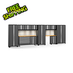 NewAge Garage Cabinets BOLD 3.0 Grey 11-Piece Cabinet Set with Bamboo Top, Backsplash, LED Lights
