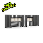 NewAge Garage Cabinets BOLD 3.0 Grey 11-Piece Cabinet Set with Stainless Top, Backsplash, LED Lights