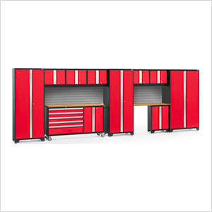 BOLD 3.0 Red 11-Piece Project Center Set with Bamboo Top and Backsplash
