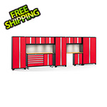 NewAge Garage Cabinets BOLD 3.0 Red 11-Piece Cabinet Set with Bamboo Top, Backsplash, LED Lights