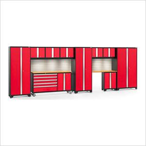 BOLD 3.0 Red 11-Piece Cabinet Set with Bamboo Top, Backsplash, LED Lights