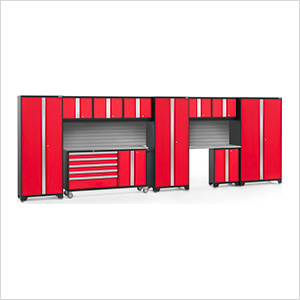BOLD 3.0 Red 11-Piece Project Center Set with Stainless Top and Backsplash