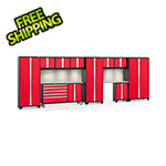 NewAge Garage Cabinets BOLD 3.0 Red 11-Piece Cabinet Set with Stainless Top, Backsplash, LED Lights