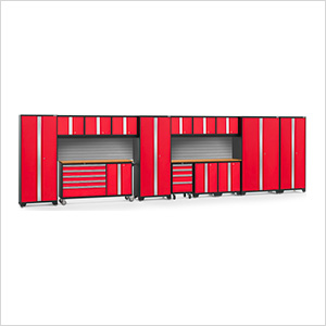 BOLD 3.0 Red 15-Piece Project Center Set with Bamboo Top and Backsplash