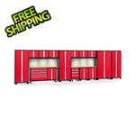 NewAge Garage Cabinets BOLD 3.0 Red 15-Piece Cabinet Set with Bamboo Top, Backsplash, LED Lights