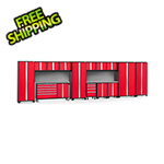 NewAge Garage Cabinets BOLD 3.0 Red 15-Piece Project Center Set with Stainless Top and Backsplash