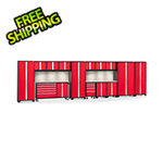 NewAge Garage Cabinets BOLD 3.0 Red 15-Piece Cabinet Set with Stainless Top, Backsplash, LED Lights