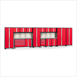 BOLD 3.0 Red 15-Piece Cabinet Set with Stainless Top, Backsplash, LED Lights