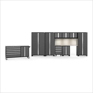 BOLD 3.0 Grey 10-Piece Cabinet Set with Stainless Top, Backsplash, LED Lights