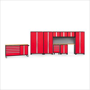 BOLD 3.0 Red 10-Piece Project Center Set with Bamboo Top and Backsplash