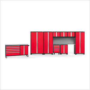 BOLD 3.0 Red 10-Piece Project Center Set with Stainless Top and Backsplash