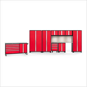 BOLD 3.0 Red 10-Piece Cabinet Set with Stainless Top, Backsplash, LED Lights