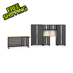 NewAge Garage Cabinets BOLD 3.0 Grey 7-Piece Cabinet Set with Bamboo Top, Backsplash, LED Lights