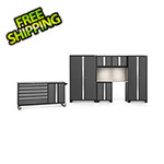NewAge Garage Cabinets BOLD 3.0 Grey 7-Piece Cabinet Set with Stainless Top, Backsplash, LED Lights