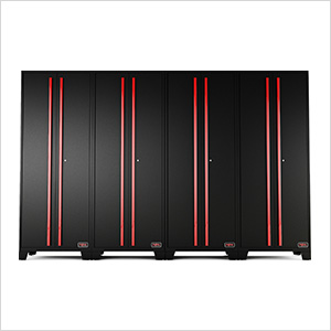 Black and Red Tall Garage Cabinets (4-Pack)
