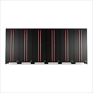 Black and Red Tall Garage Cabinet (6-Pack)