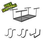 "SafeRacks 4'x6' Overhead Storage 18""-33"" Drop Combo (Includes 2 Racks and 18 Hooks)"