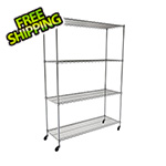 "MonsterRax NSF 4-Tier Wire Shelving Rack with Wheels - 60""W x 72""H x 24""D"