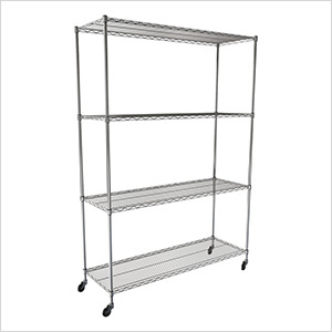 "NSF 4-Tier Wire Shelving Rack with Wheels - 60""W x 72""H x 24""D"