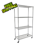 "MonsterRax NSF 4-Tier Wire Shelving Rack with Wheels - 48""W x 72""H x 18""D"